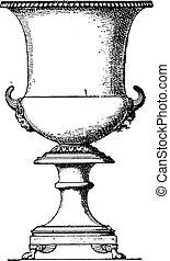 bronze, engraving., cratère, vendange