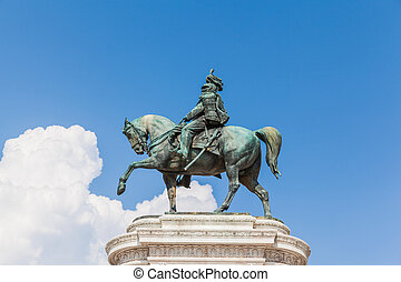 Bronze equestrian sculpture of Victor Emmanuel - Close view ...