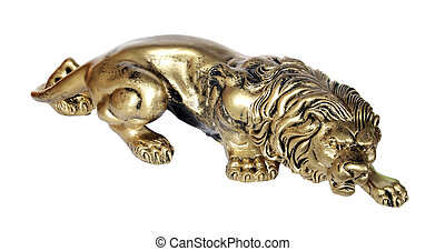 Bronze figurine of a lion on the white background