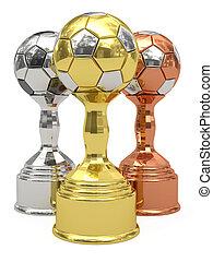 bronze, football, doré, trophées, argent