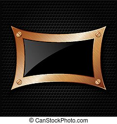 Bronze frame with screws on abstrac