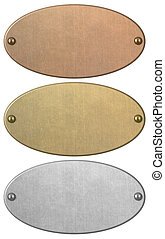 Bronze, gold and silver metal plates set isolated with clipping path included