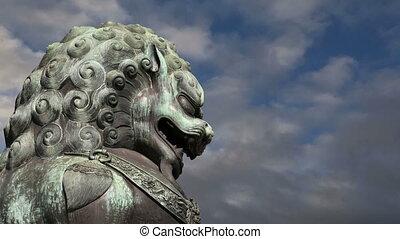Bronze Guardian Lion Statue,Beijing - Bronze Guardian Lion...