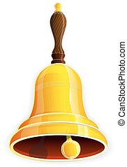 Bronze handbell - Bronze bell with wooden handle on a white...