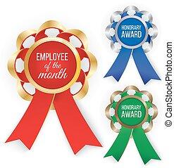 bronze., illustration., awards:, três, ilustração, ouro, vetorial, prata, tipos