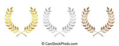 bronze, laurel, dourado, fundo, isolado, branca, victory., distinção, etiqueta, prata, vencedor, folha, símbolo, ilustração, grinalda