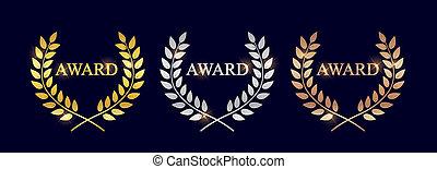 bronze, laurel, dourado, fundo, isolado, escuro, victory., distinção, etiqueta, prata, vencedor, folha, símbolo, ilustração, grinalda