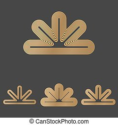 Bronze line abstract logo design set