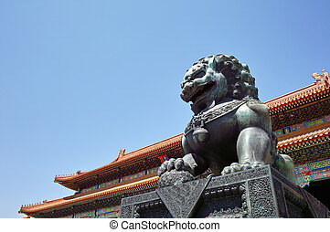 Forbidden City, Beijing, China - Bronze Lion in Forbidden...