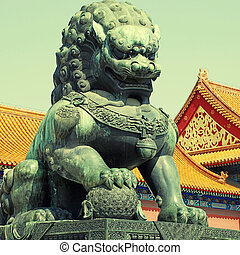Bronze lion in Forbidden city(Beijing, China)