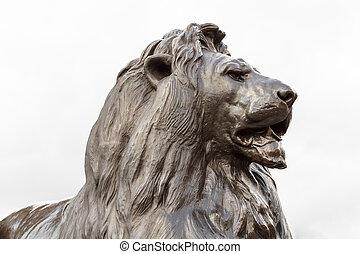 Bronze lion sculpture in on Trafalgar square, London