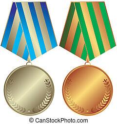 bronze, medaillen, silbrig