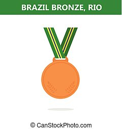 Bronze medal. Brazil. Rio. Olympic games 2016. Vector illustration.