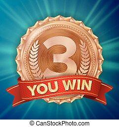 Bronze Medal Vector. Bronze, Copper 3rd Place Badge. Metallic Winner Award. Red Ribbon. Olive Branch. Realistic Illustration.