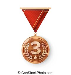 Bronze Medal Vector. Metal Realistic Third Placement Achievement. Round Medal With Red Ribbon, Relief Detail Of Laurel Wreath And Star. Competition Game Bronze Achievement. Winner Trophy Award