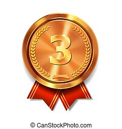 Bronze medal with red ribbon 3rd place award. Champion and winner symbol Isolated realistic Illustration