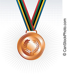 Bronze medal with ribbons background