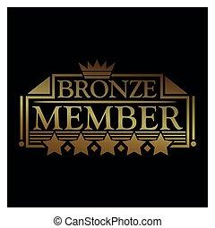 Bronze member Icon. Vector Illustration on black background