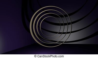bronze metal rings moving in dark space with purple light....