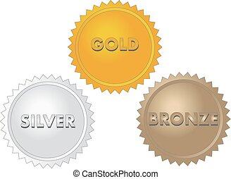 bronze, or, médailles, argent