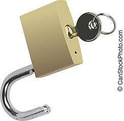 Bronze padlock with key. Vector illustration