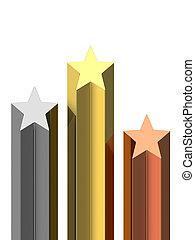 bronze, pedestal, estrelas, dourado, prata