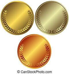 bronze, prata, medalhas, ouro