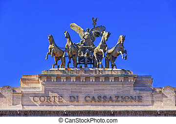 Bronze quadriga on the Palace of Justice in Rome