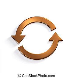 Bronze Recycling Circular Arrows. Gold. 3D Render Illustration