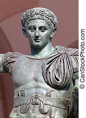bronze, romain, empereur, constantine, statue