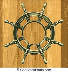 bronze, roue, bois, vecteur
