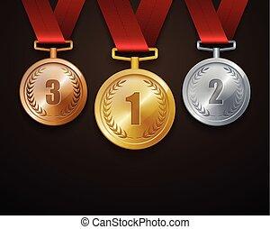 bronze, satz, meda, silber, gold