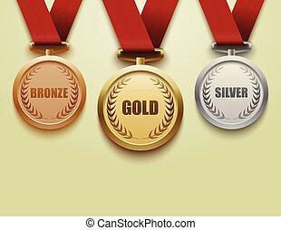 bronze., satz, silber, gold