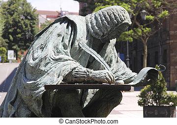 bronze sculpture of a writer, nineteenth century
