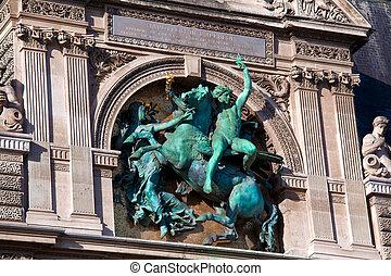 Bronze sculpture of Napoleon III on The Louvre