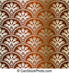 stylish vector background with a golden pattern inspired by Indian saris. The tiles can be combined seamlessly. Graphics are grouped and in several layers for easy editing. The file can be scaled to any size.