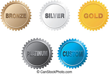 bronze, silver, gold, platinum badge - suitable for user ...