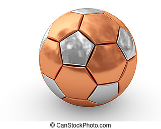 Bronze soccer ball on white background rendered with soft...