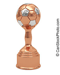 Bronze soccer ball trophy on pedestal isolated on white....