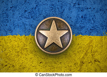 Bronze star on Ukraine flag background