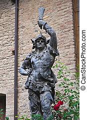 Bronze statue. Grazzano Visconti. Emilia-Romagna. Italy.