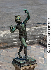 Bronze statue in House of the Faun, Pompeii, Italy
