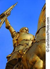 Bronze statue of Joan of Arc on Rue de Rivoli in Paris - Portrait Orientation
