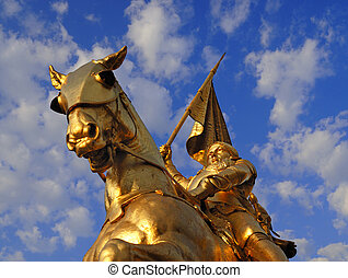 Bronze statue of Joan of Arc on Rue de Rivoli in Paris.