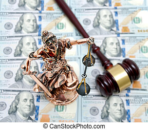 bronze statue of Justice on the background of dollar bills