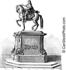 Bronze Statue of King Louis XV of France, vintage engraving...