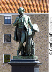 Bronze statue of the artist Ary Scheffer in Dordrecht