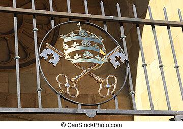 Bronze symbol of the Catholic Church