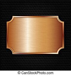 Bronze texture plate, vector illust