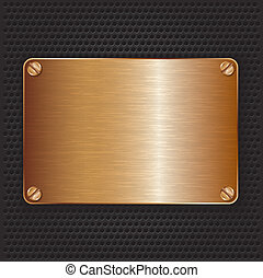 Bronze texture plate with screws, vector illustration